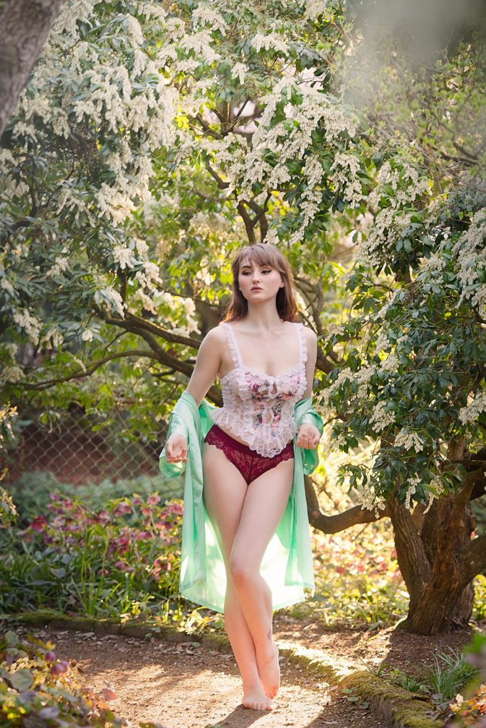Yuliya Rae Seattle boudoir portrait outdoor nature photographer cherry blossom body positive