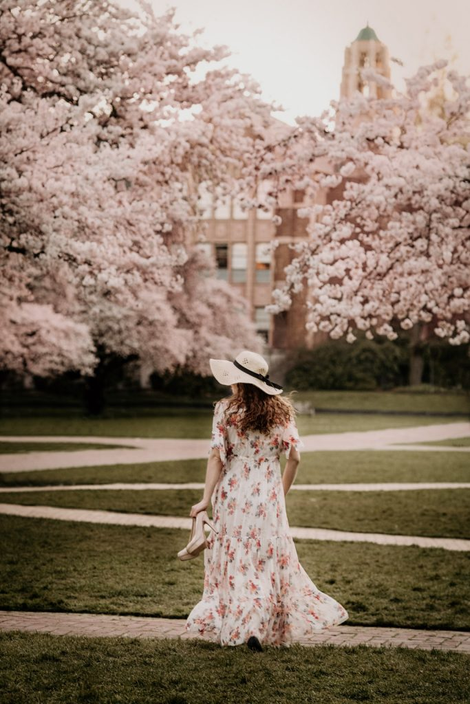 Yuliya Rae Seattle PNW portrait outdoors photographer cherry blossom uw quad